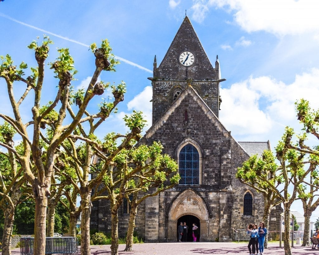 Front facade of the church in Sainte-Mère-Église France