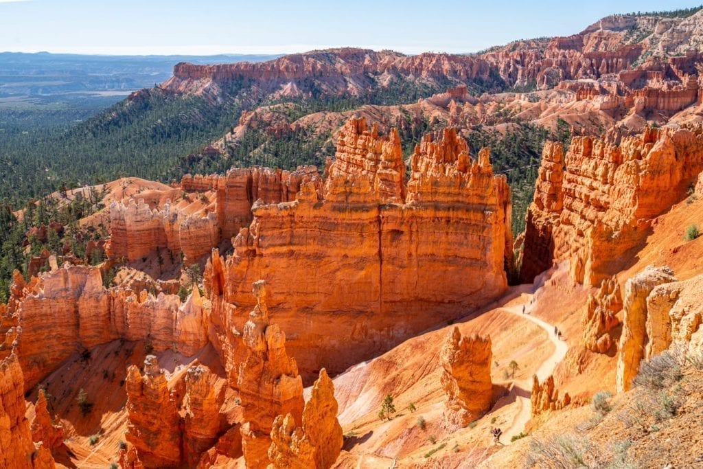 View of Bryce Canyon hoodoos from above on a clear day