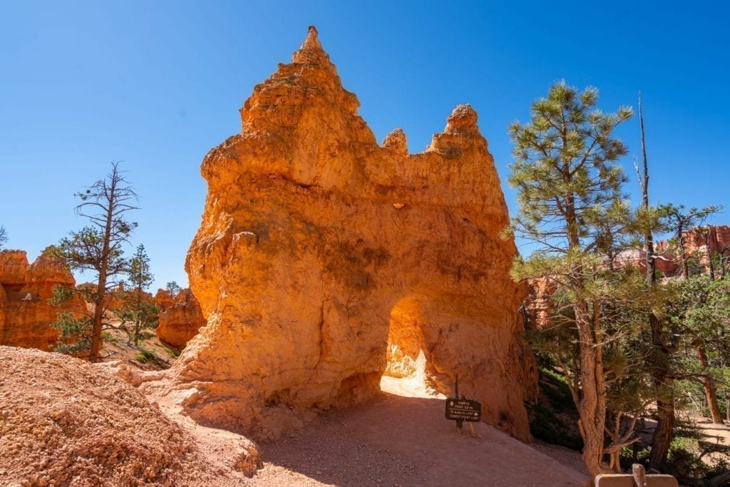 Rock formation as seen along Queen's Garden trail in Bryce Canyon NP on a Utah national parks road trip itinerary
