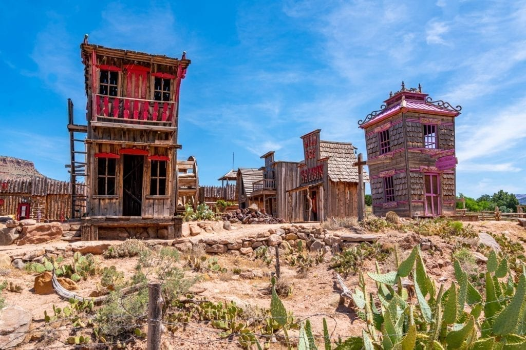 Quirky ghost town roadside attraction near Zion NP, as seen on a utah road trip