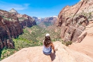 Kate Storm at the viewpoint at the Canyon Overlook Trail in Zion National Park Utah