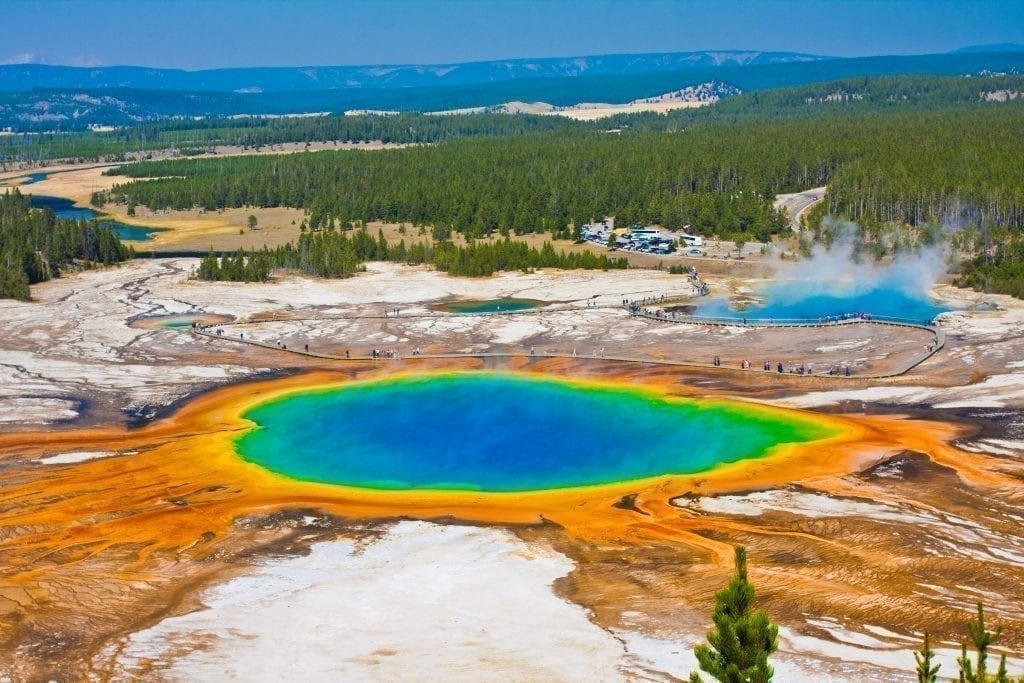 View of Grand Prism in Yellowstone National Park, one of the best places to visit in USA