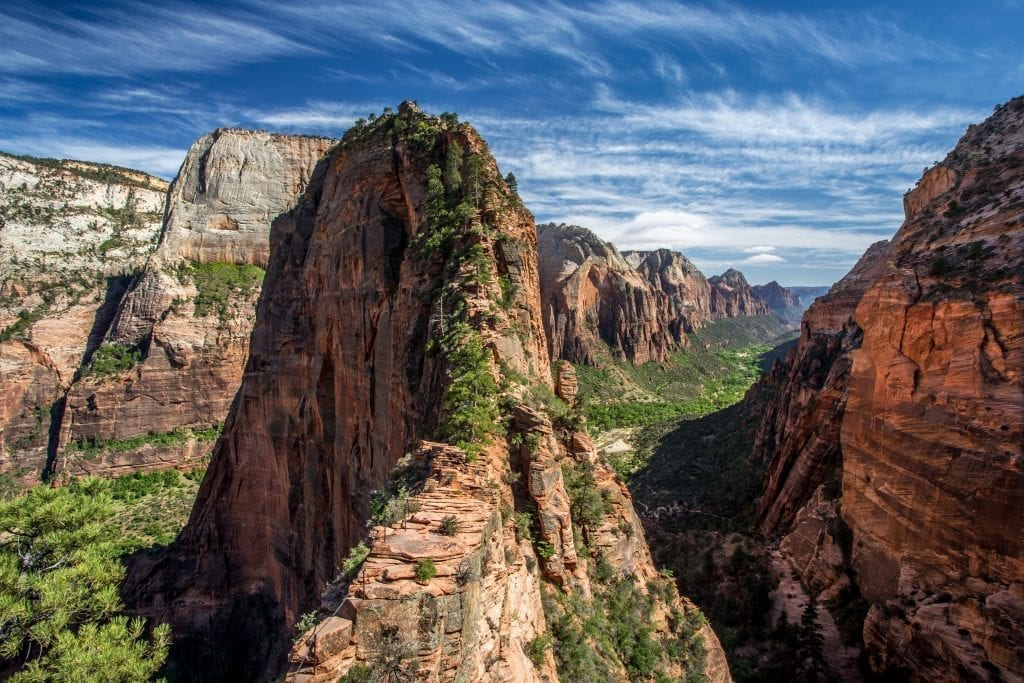 Angels Landing in Zion National Park Utah as seen from the trail
