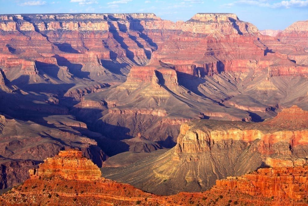 View of the Grand Canyon from the south rim near sunset. The Grand Canyon is one of the best USA travel destinations