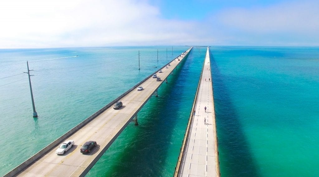 Highway over the Caribbean Sea leading the to Floriday Keys as shot with a drone. The Florida Keys are one of the best places to visit in USA