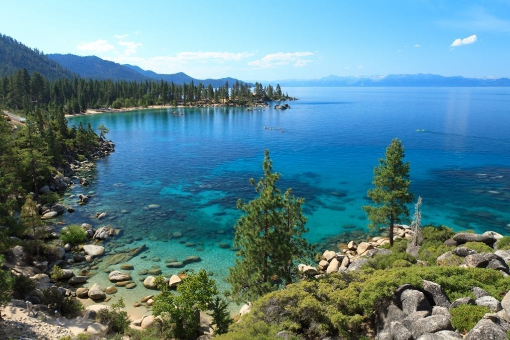 Lake Tahoe from above during the summer, one of the best USA travel destinations