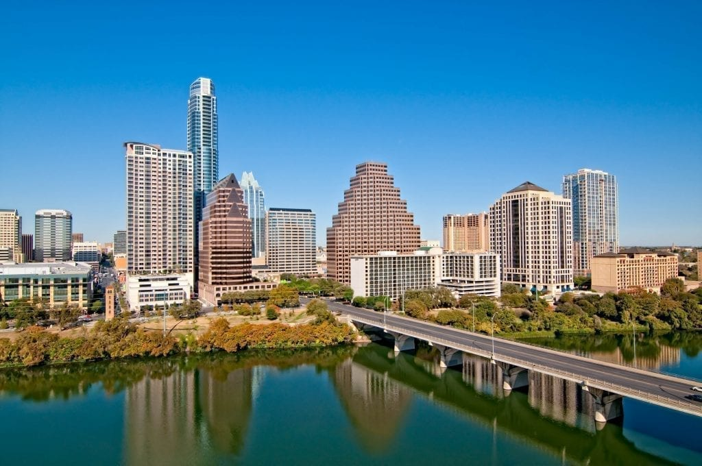 Austin TX skyline with the South Congress Bridge in the foreground