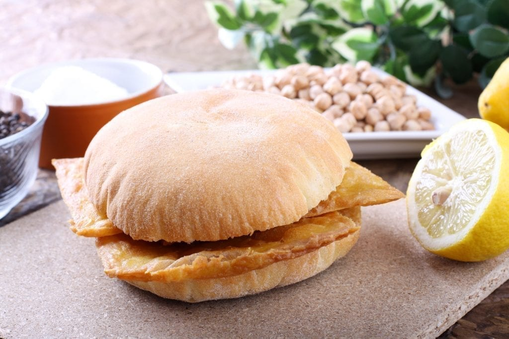 Panelle on a white bun, a typical Sicilian street food