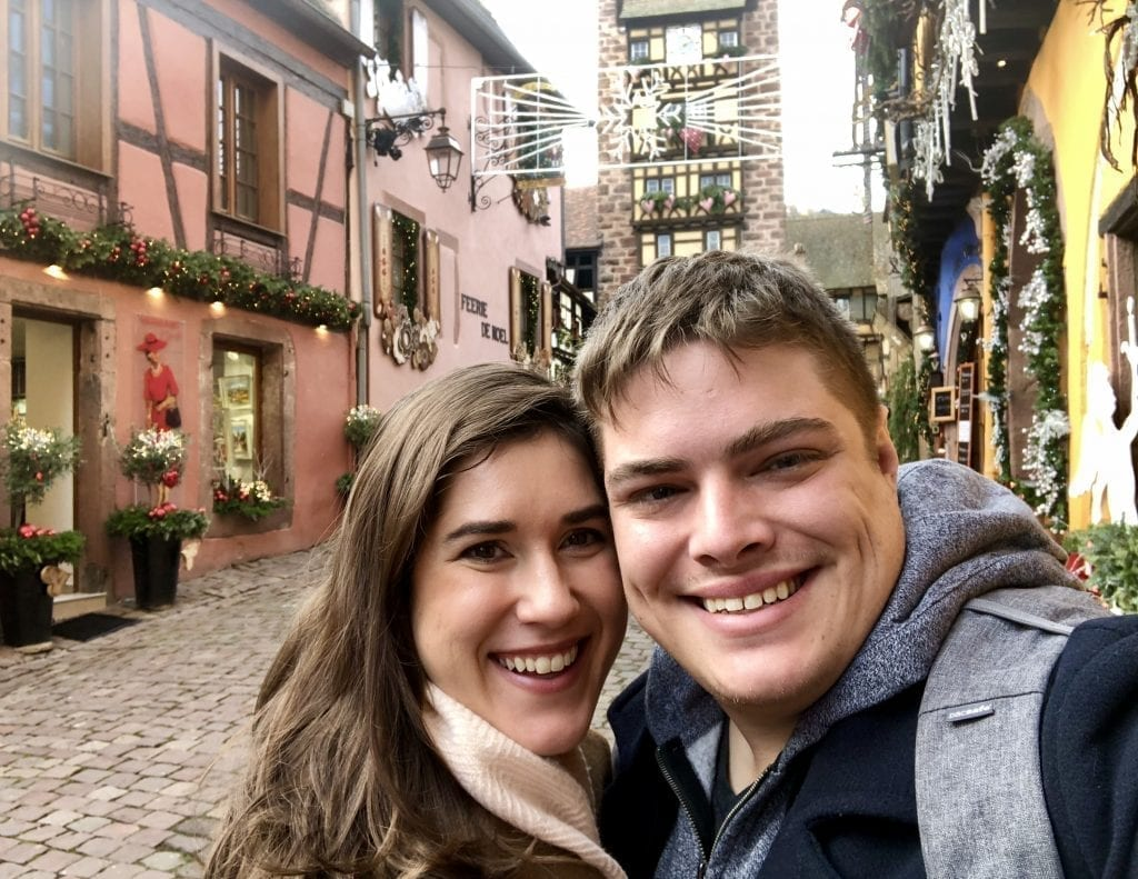 Selfie of Kate Storm and Jeremy Storm in Riquewihr France near Christmastime