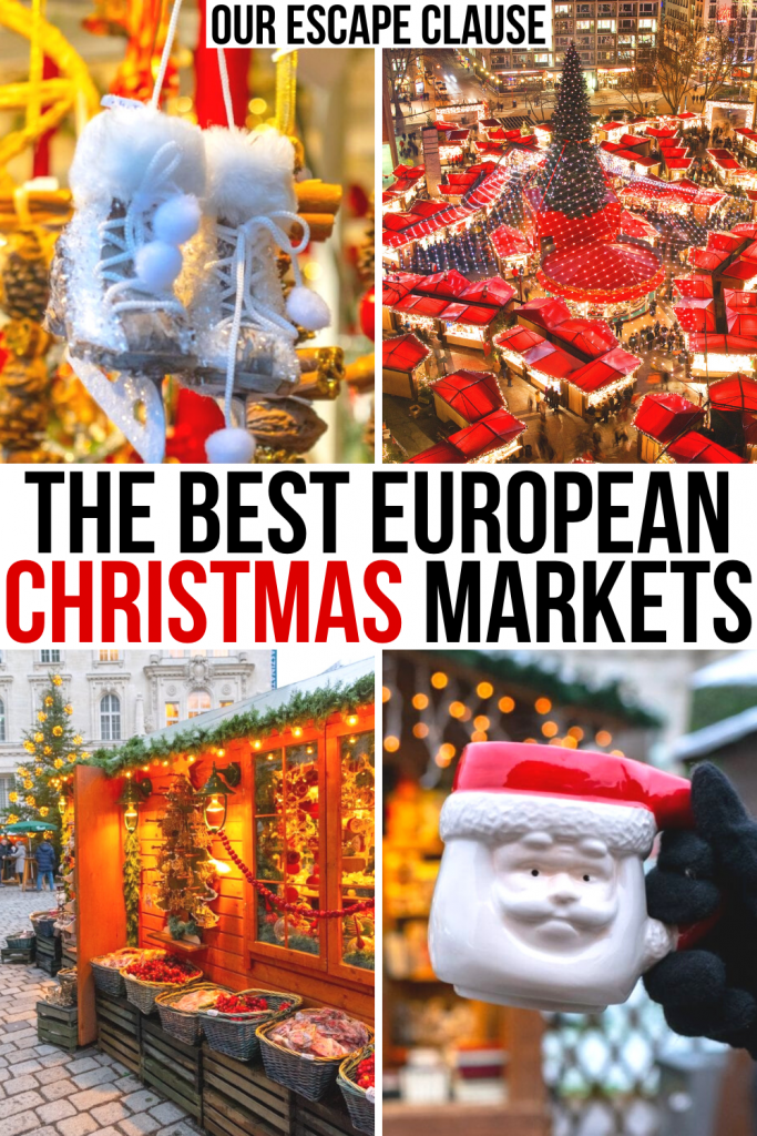 "4 photos of Christmas markets in Europe, black and red text on a white background in the center reads ""the best european christmas markets"""