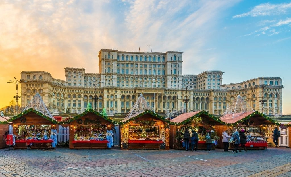 Bucharest Christmas market in front of Parliament, with the Parliament building visible in the background
