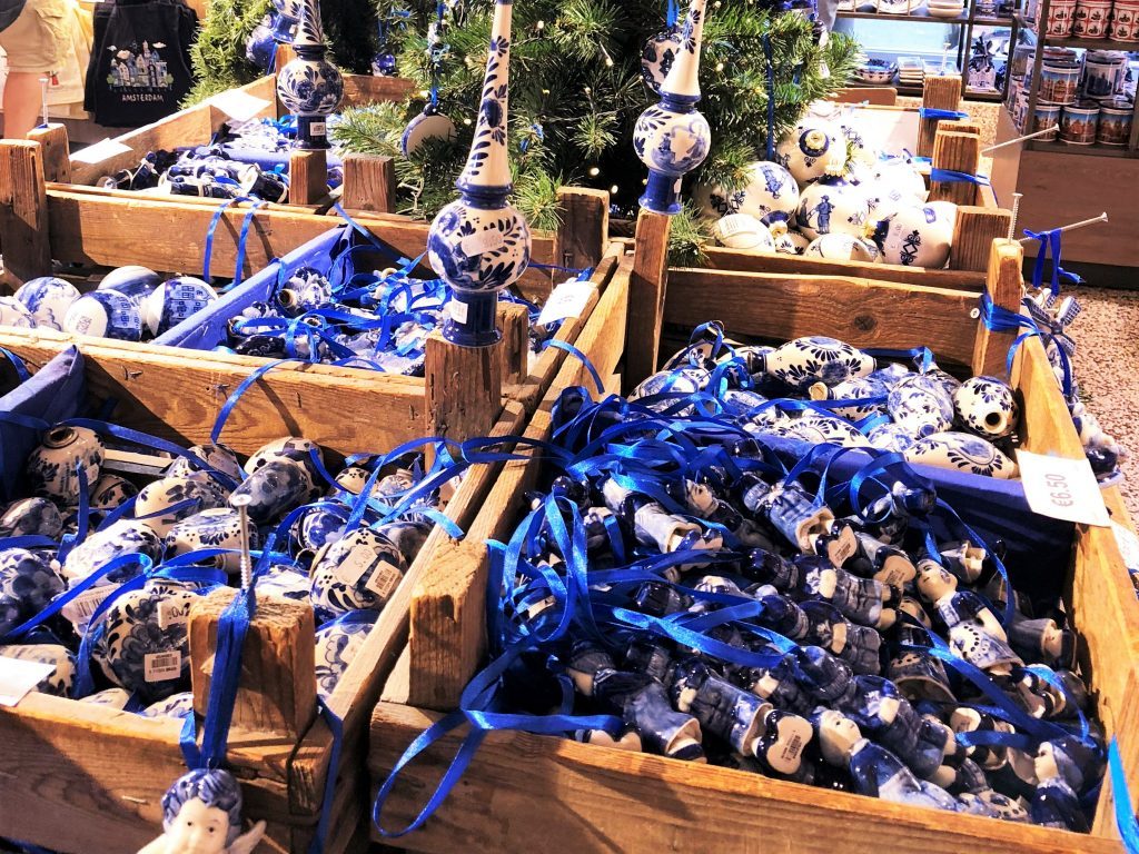 blue and white ornaments for sale at an amsterdam christmas market