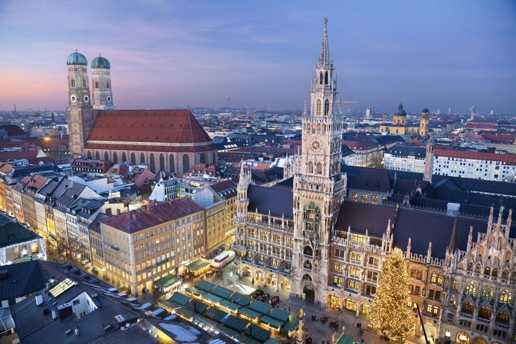 Marienplatz Christmas market in Munich Germany as seen from above near dusk