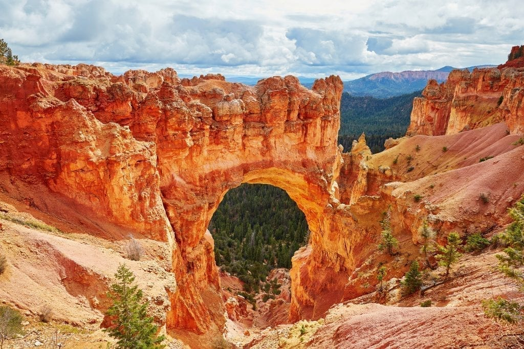 Natural Bridge in Bryce Canyon National Park on a cloudy day, one of the best places to visit in Bryce Canyon