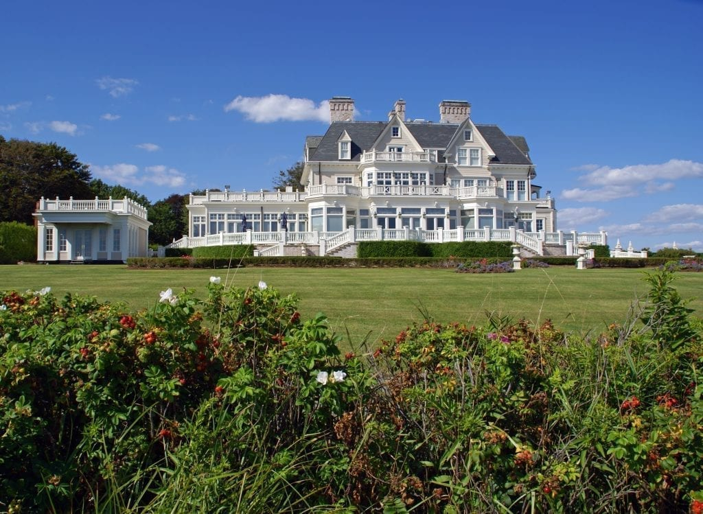 Mansion in Newport Rhode Island with lawn in the foreground