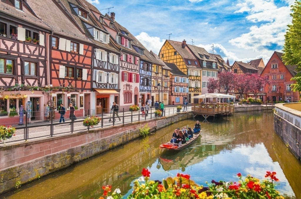 La Petite Venise in Colmar on a summer day. Visiting La Petite Venise is one of the best things to do in colmar france.
