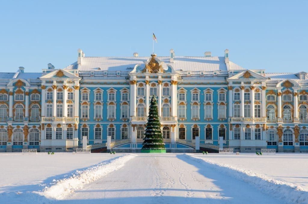 Blue palace near St Petersburg Russia in winter with snow and a Christmas tree in front of it