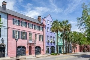 Photo of Rainbow Row in Charleston SC, a must see during a 3 day weekend in Charleston SC