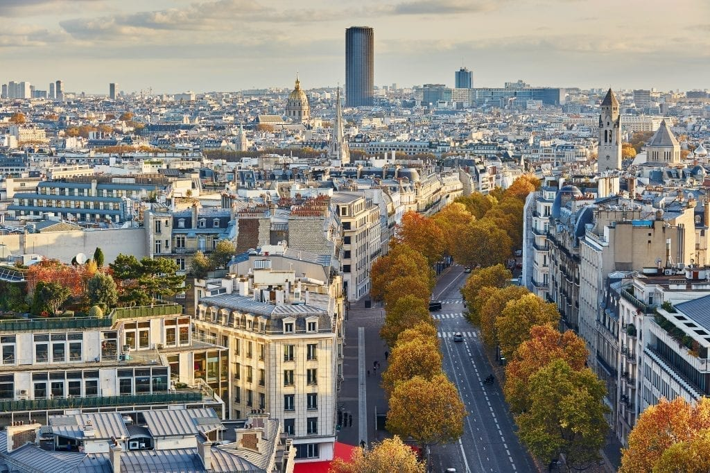 View of Paris skyline on a fall day with Montparnasse Tower Paris in the center background