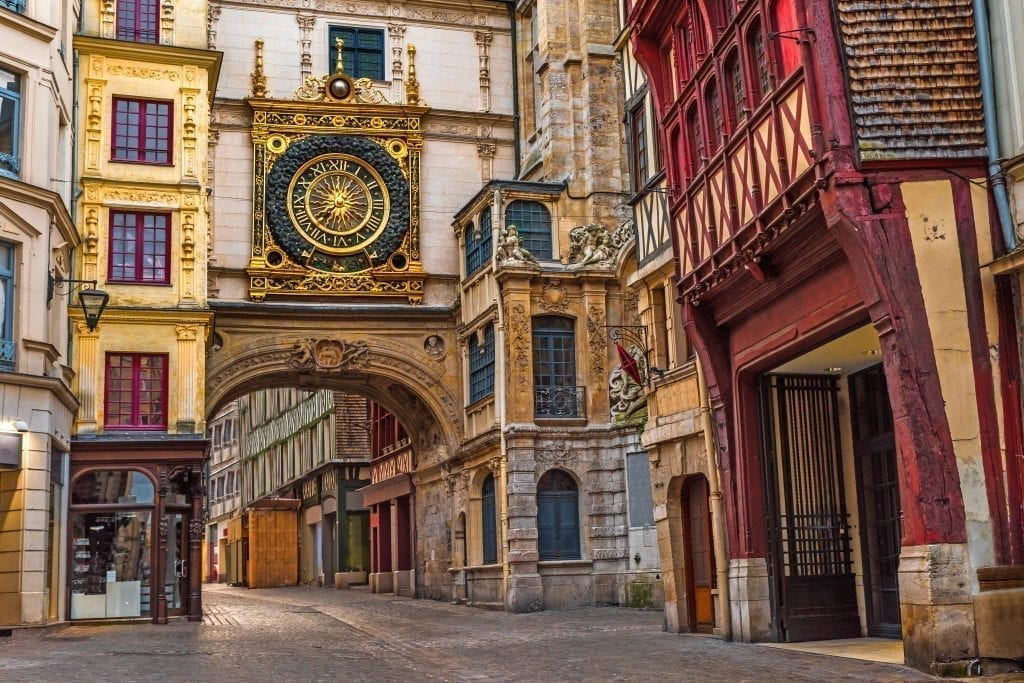Rouen astrological clock in the early morning hours. Rouen is one of the best day trips from Paris France