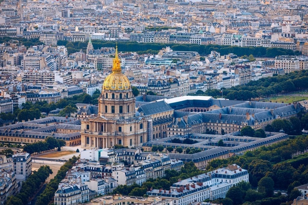 Les Invalides from above in Paris