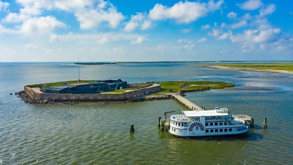 Fort Sumter as seen from above with a ferry parked at its dock