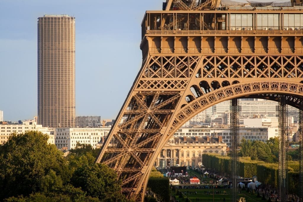 Partial view of the Eiffel Tower with Montparnasse Tower in the background