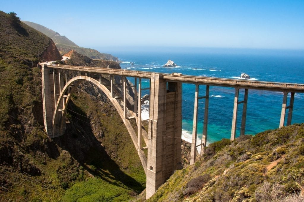 Bixby bridge as seen along highway 1 in california, one of the most iconic us west coast road trip stops