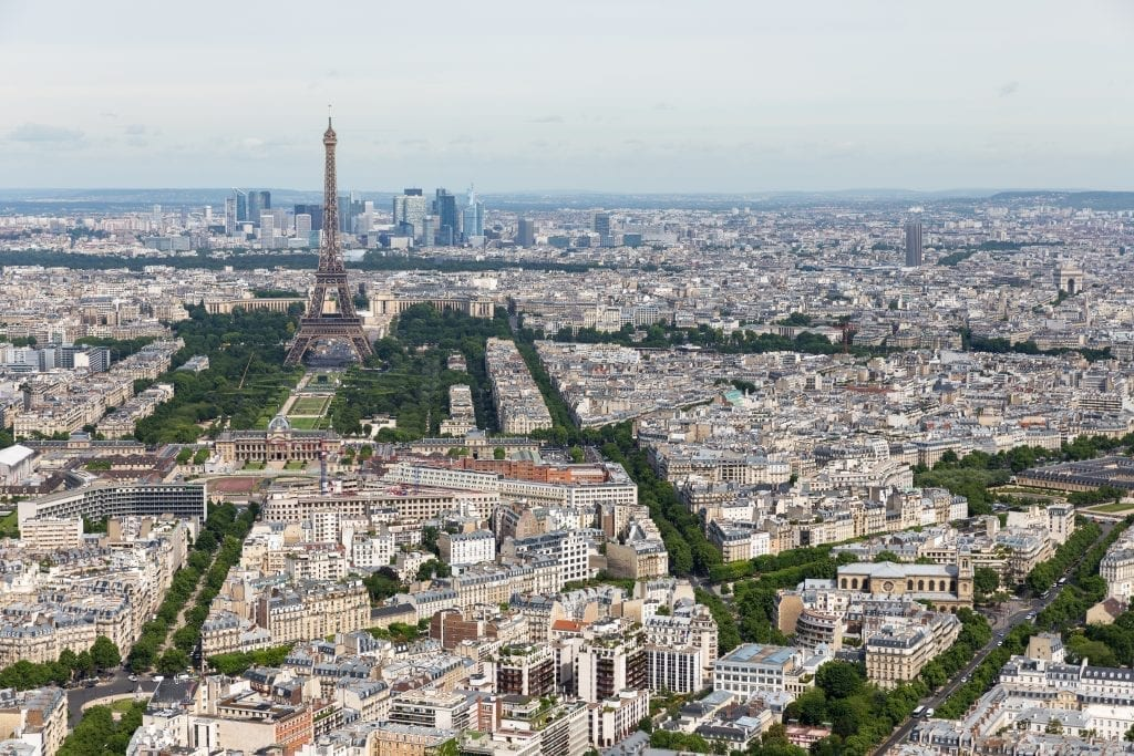 View of Paris skyline from Montparnasse Tower on a cloudy day