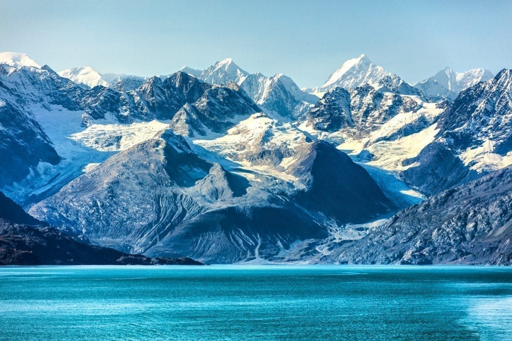 snowcapped mountains in alaska as seen fro the water