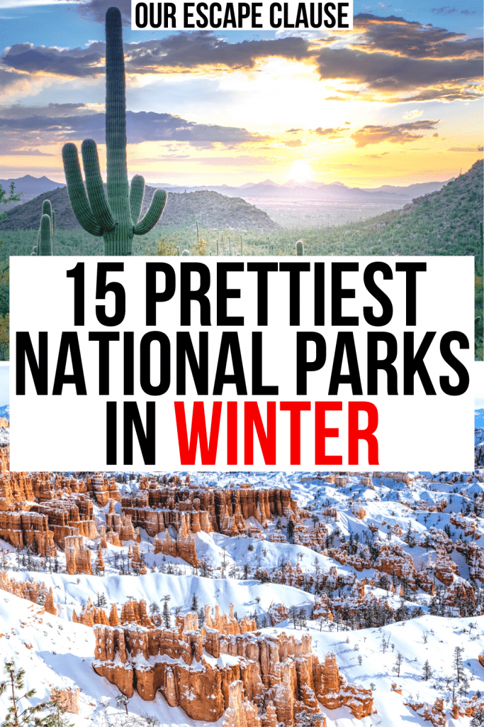 2 photos of us national parks, saguaro national park and bryce canyon. black and red text on a white background reads' 15 prettiest national parks in winter'