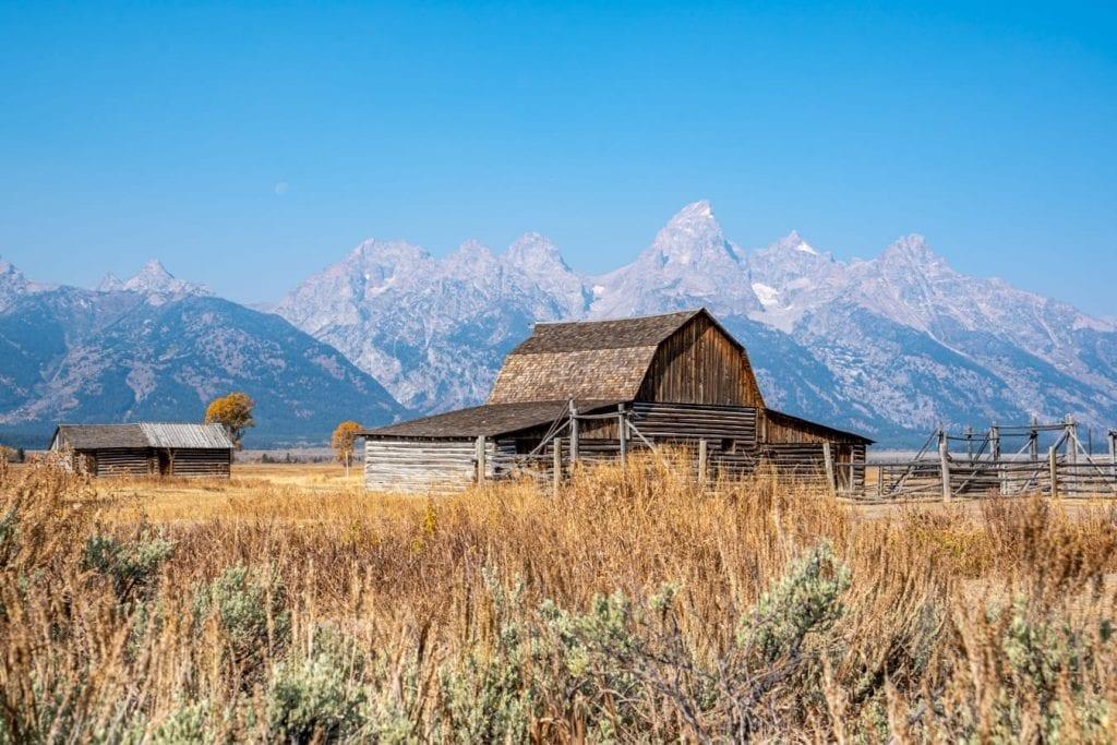 wooden barn along mormon row in grand teton np wyoming