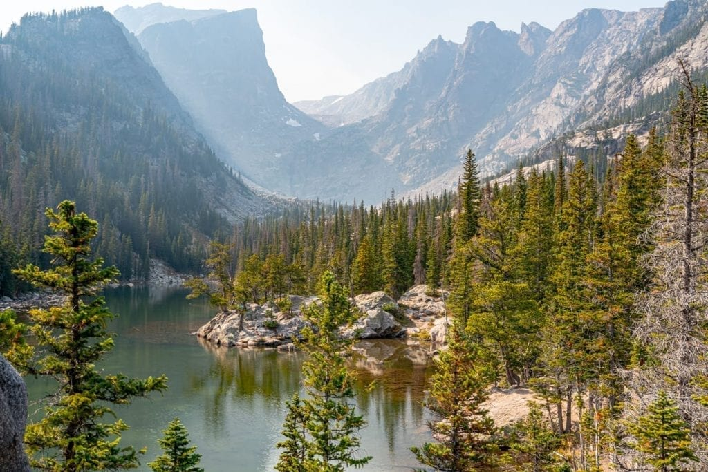 View of Dream Lake in Rocky Mountain NP, one of the most beautiful national parks in the US