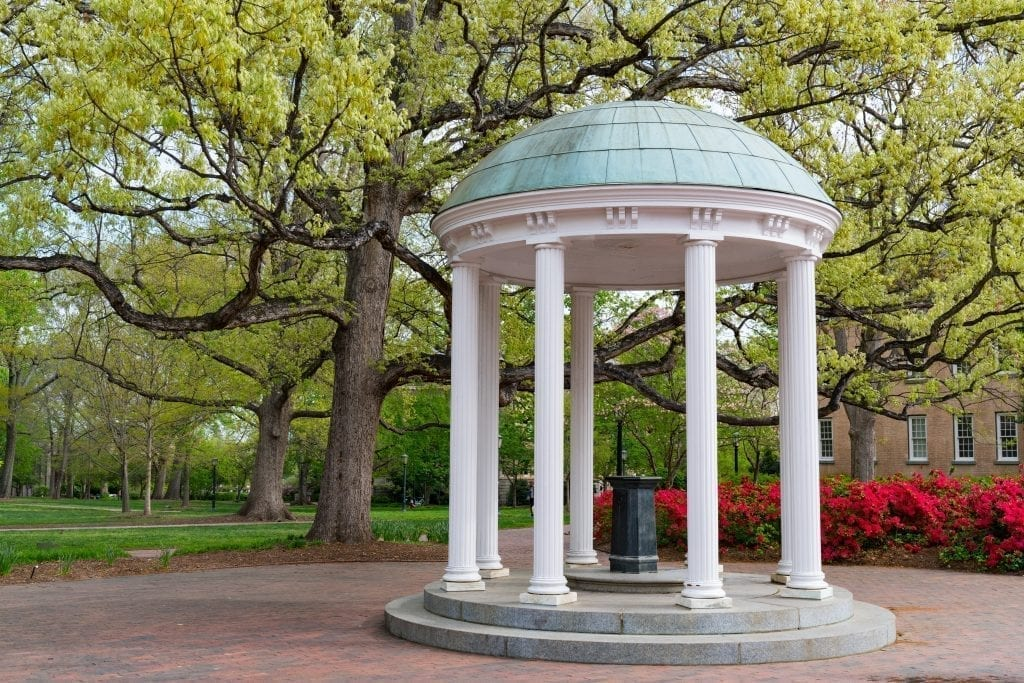 Stone gazebo in a garden in Chapel hill, one of the most romantic places to visit in NC