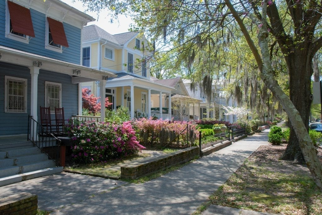 Historic 5th street in Wilmington NC in the spring, one of the best NC romantic getaways