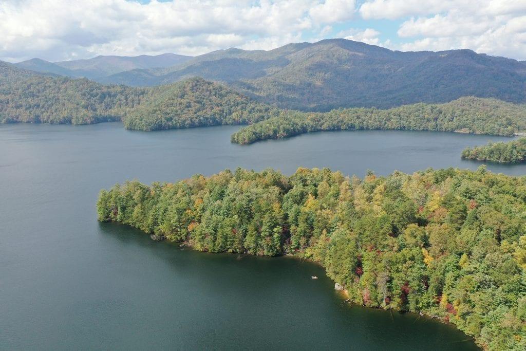 lake santeetlah north carolina as seen from above