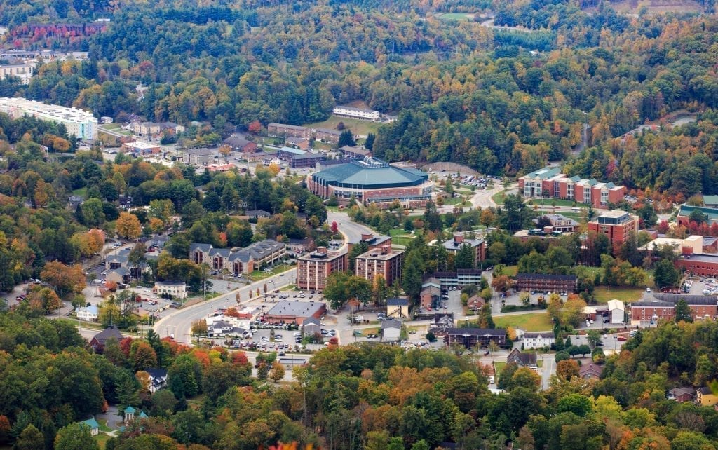 Boone NC as seen from above in the fall, one of the most romantic getaways in North Carolina