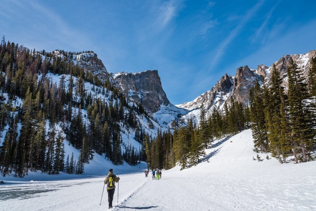 Group of hikers cross country skiing in rocky mountain national park in winter with mountain peaks in the background