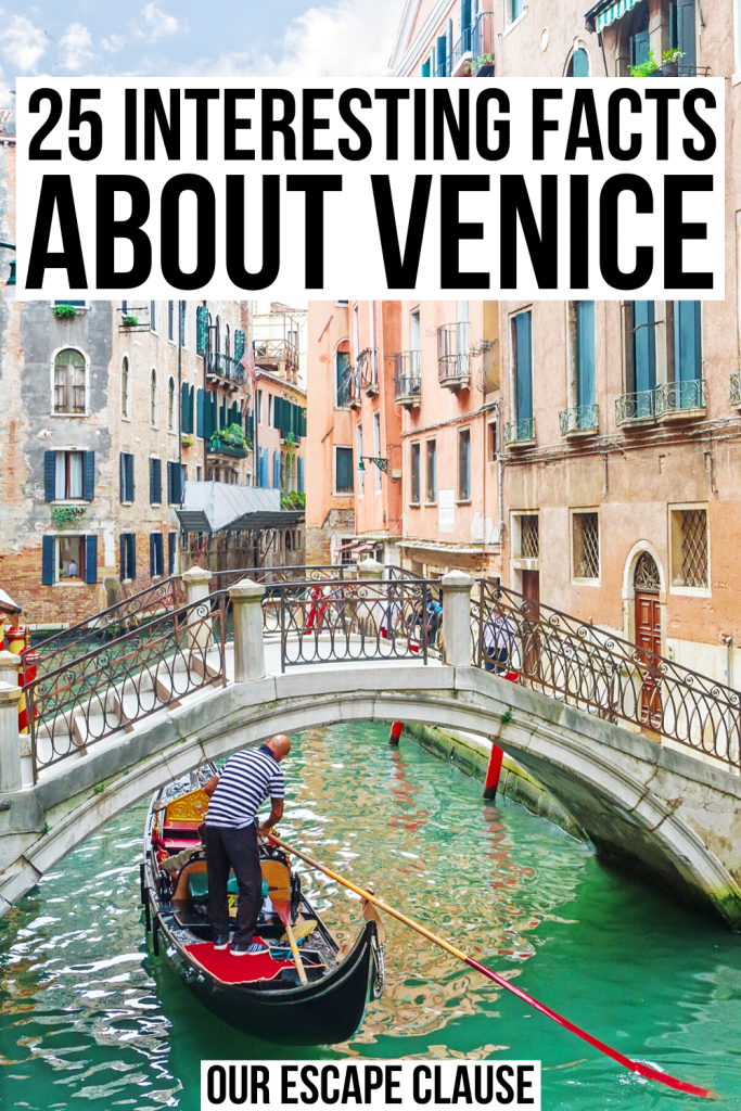"photo of a venetian canal with a gondola under a bridge. black text on a white background reads ""25 interesting facts about venice"""