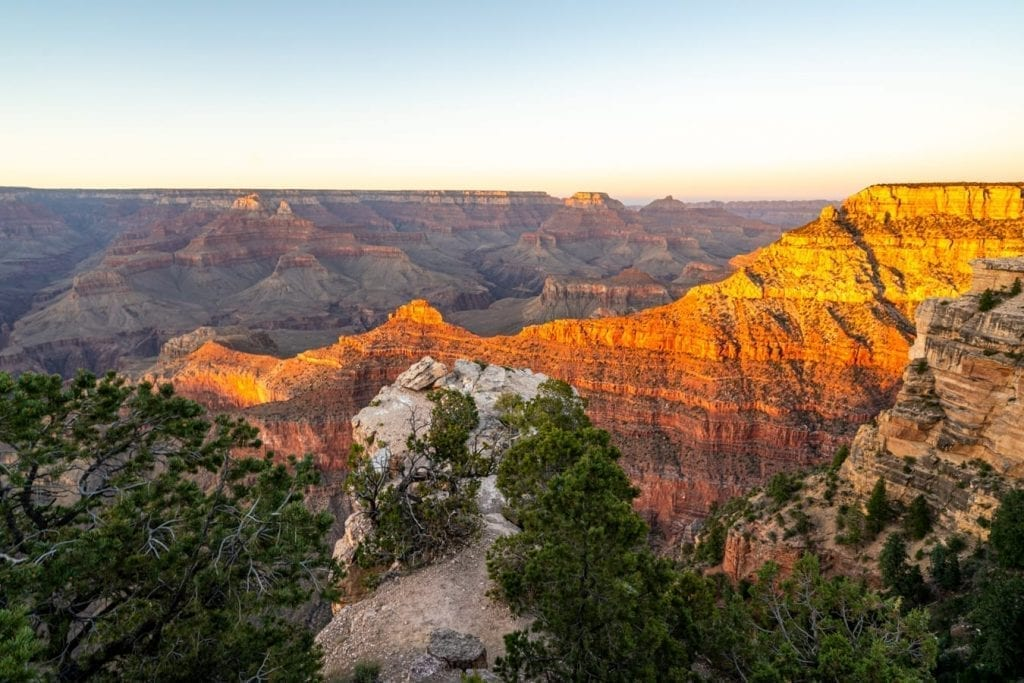 grand canyon sunset as seen from mather point