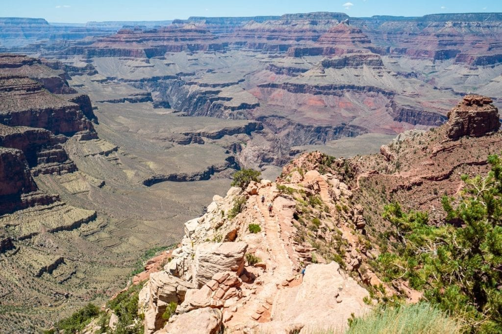 South Kaibab trail into the Grand Canyon, one of the most famous national parks in USA
