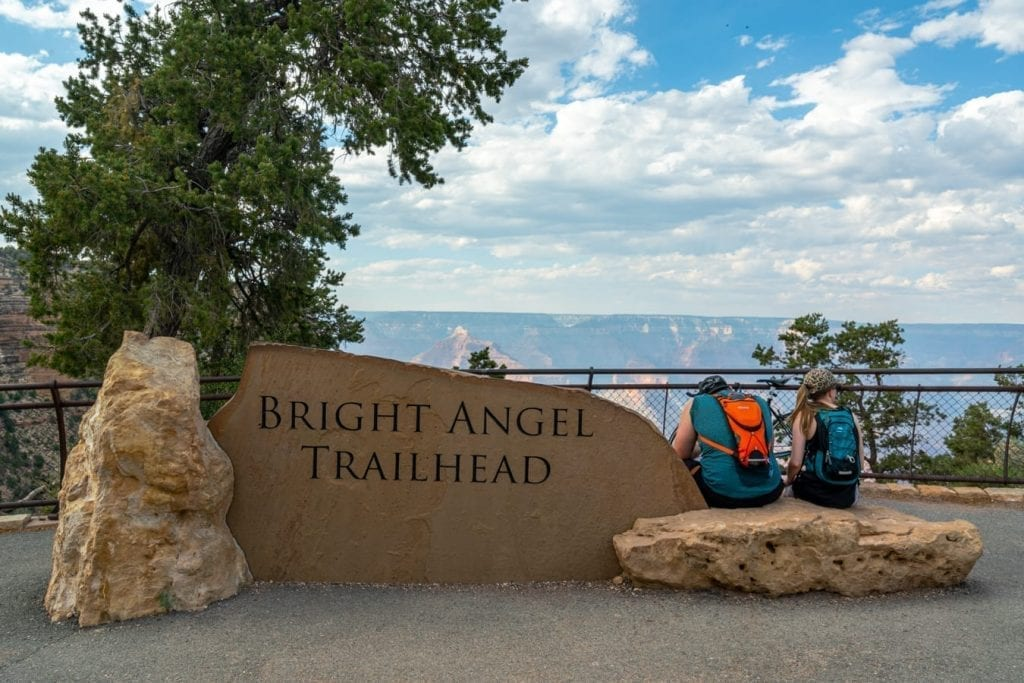 sign marking the start of the bright angel trailhead in grand canyon np