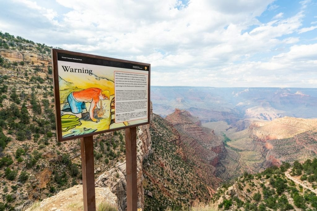 warning sign from nps about grand canyon safety on bright angel trail