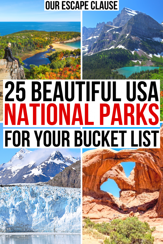 """4 photos of best national parks in us: acadia, glacier, glacier bay, and arches. black and red text on a white backgrounds reads """"25 beautiful usa national parks for your bucket list"""""""