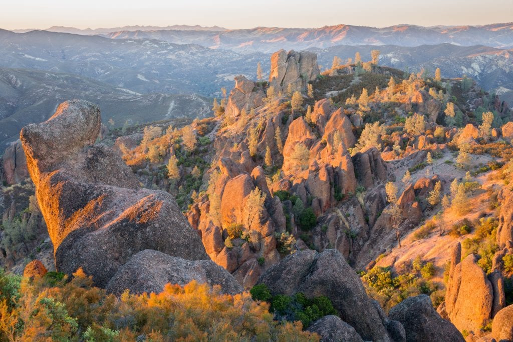 pinnacles national park as seen from above at sunset, one of the most beautiful national parks in usa