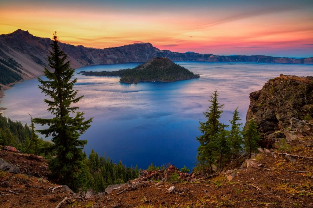 Crater Lake Oregon as seen from above at sunset