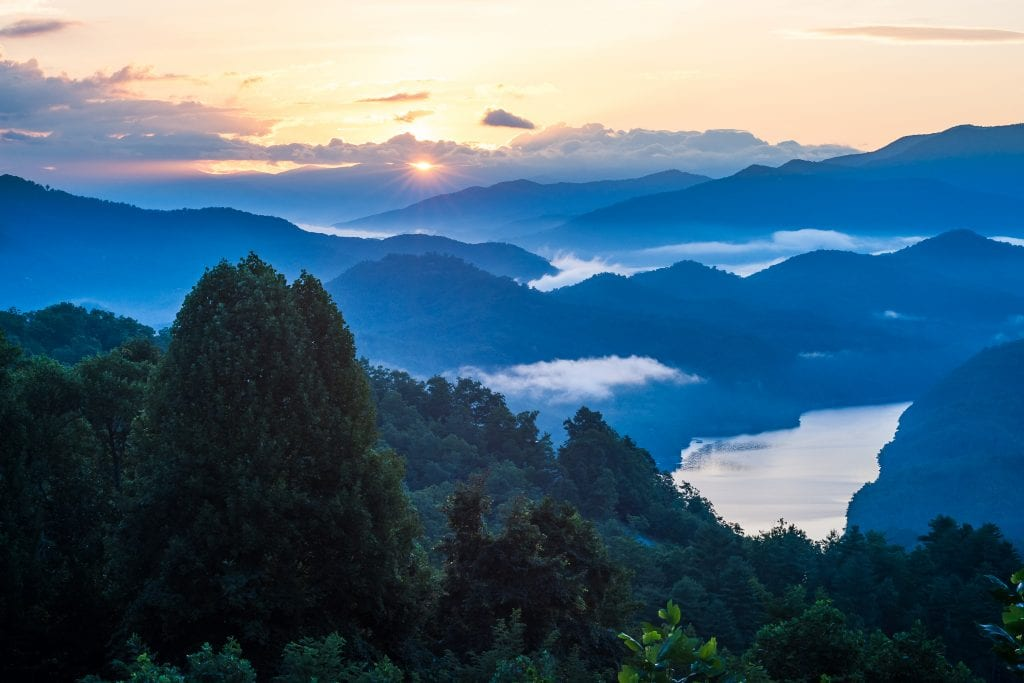 sunrise of great smoky mountains, one of the most beautiful national parks in the us