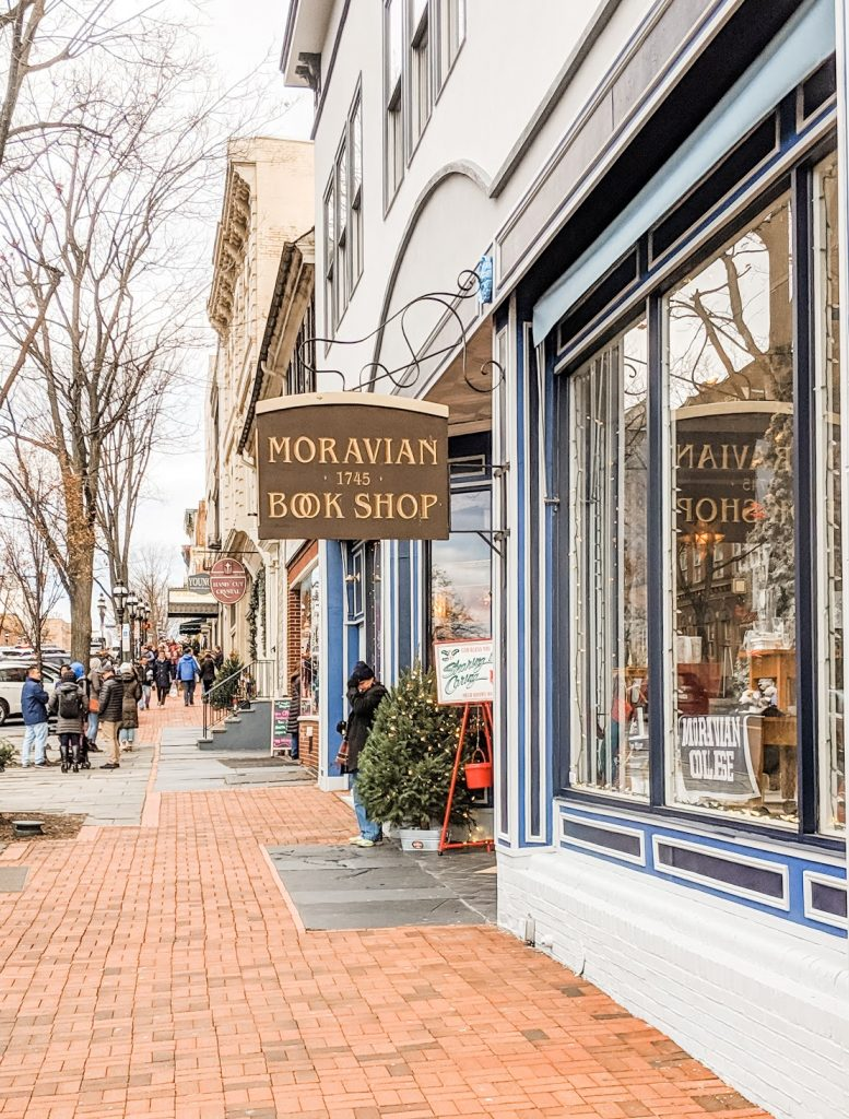 exterior of Moravian book shop in bethlehem pa, one of the prettiest small towns in america