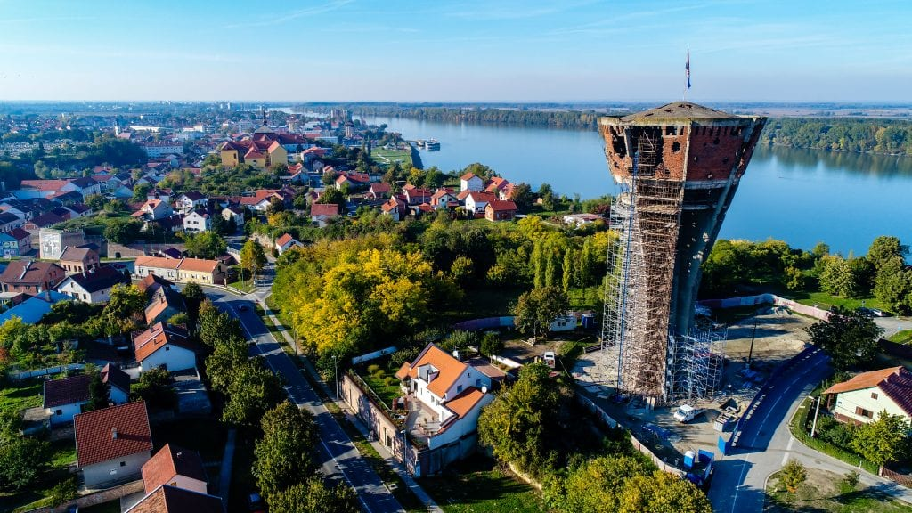 vukovar croatia with destroyed water tower prominent on the right side of the photo