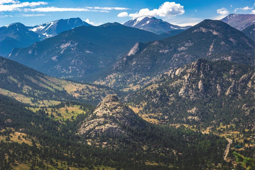 view of mountains and valley from prospect park in colorado estes park